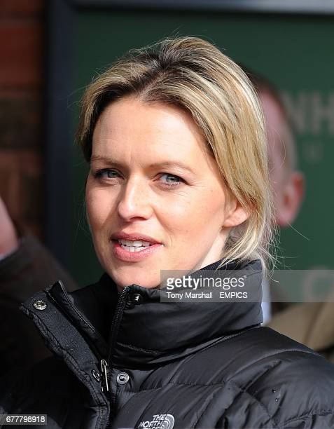 Winning trainer Rebecca Curtis during the trophy presentation after Teaforthree wins the Diamond Jubilee National Hunt Chase during the Cheltenham...