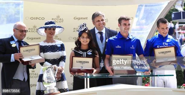 Winning trainer Richard Fahey Princess Haya bint Al Hussein of Jordan and daughter Al Jalila bint Mohammed bin Rashid Al Maktoum with JuanCarlos...
