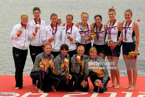 Winning women's quadruple sculls crews pose with their medals with Ukraine's gold winners Yana Dementieva Anastasia Kozhenkova Natalia Dovgodko and...