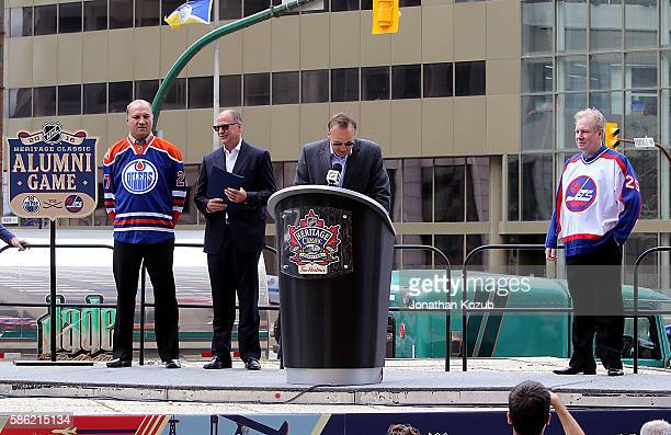 Winnipeg Jets alumni Dale Hawerchuk announces the Jets alumni roster for the 2016 NHL Heritage Classic alumni game against the Edmonton Oilers as...