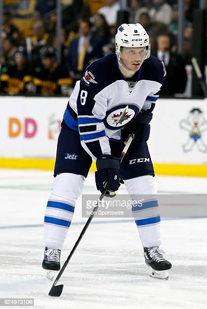 Winnipeg Jets defenseman Jacob Trouba gets set for the face off during a regular season NHL game between the Boston Bruins and the Winnipeg Jets on...