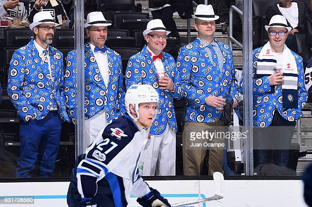 Winnipeg Jets fans watch the warmups prior to the game against the Los Angeles Kings on January 14 2017 at Staples Center in Los Angeles California