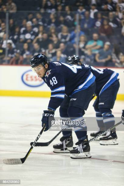 Winnipeg Jets forward Brendan Lemieux awaits the faceoff during the NHL game between the Winnipeg Jets and the Minnesota Wild on October 20 2017 at...
