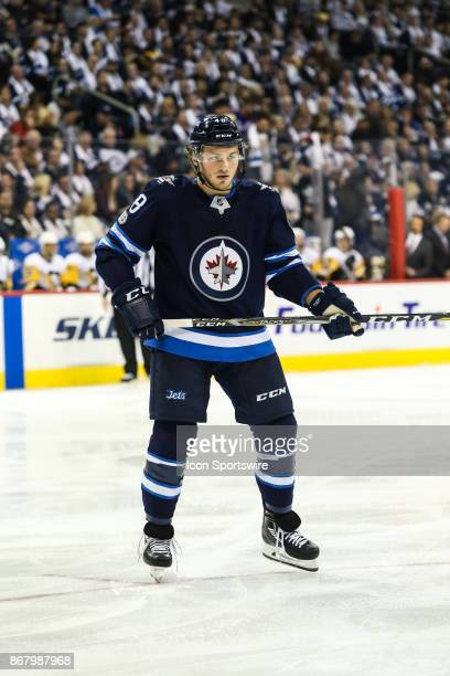 Winnipeg Jets forward Brendan Lemieux awaits the faceoff during the NHL game between the Winnipeg Jets and the Pittsburgh Penguins on October 29 2017...