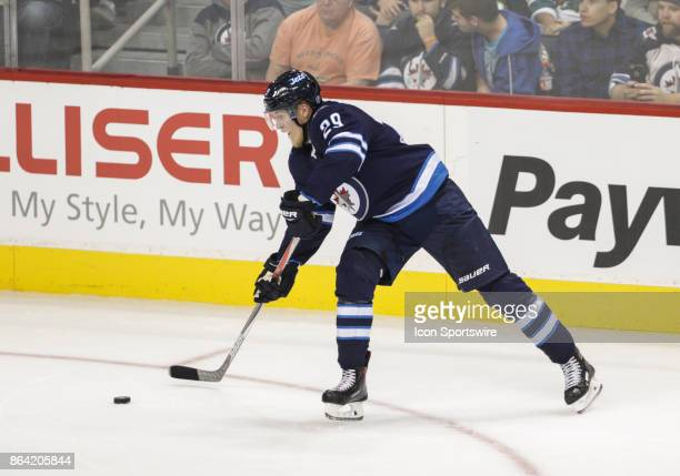 Winnipeg Jets forward Patrik Laine takes a shot during the NHL game between the Winnipeg Jets and the Minnesota Wild on October 20 2017 at the Bell...