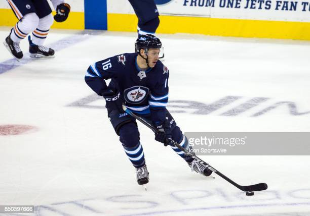 Winnipeg Jets forward Shawn Matthias skates with the puck during the NHL game between the Winnipeg Jets and the Edmonton Oilers on September 20 2017...