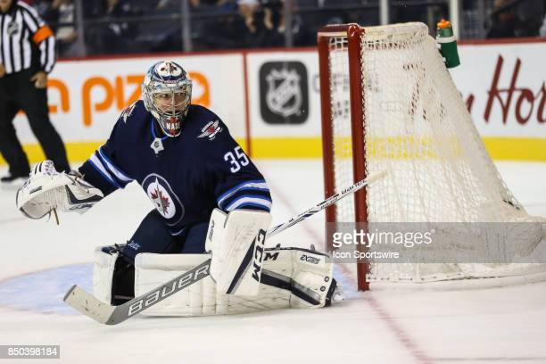 Winnipeg Jets goalie Steve Mason watches the puck during the NHL game between the Winnipeg Jets and the Edmonton Oilers on September 20 2017 at the...