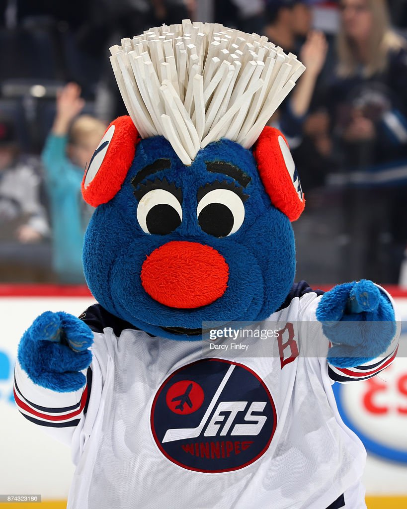 Winnipeg Jets Heritage mascot Benny celebrates a 4-1 victory over the Arizona Coyotes at the Bell MTS Place on November 14, 2017 in Winnipeg, Manitoba, Canada.
