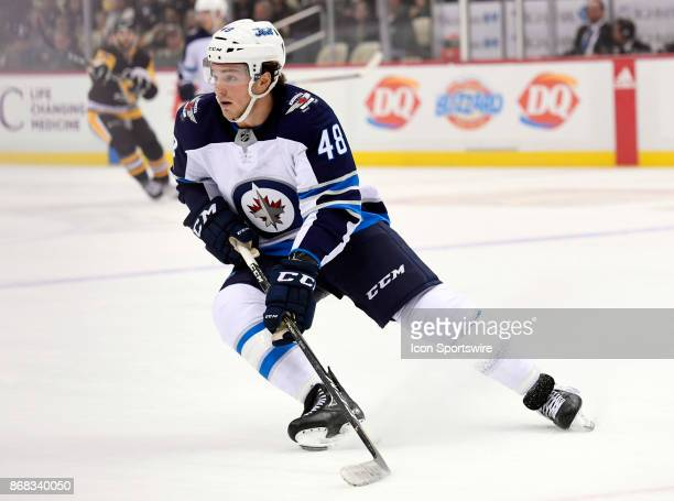 Winnipeg Jets Left Wing Brendan Lemieux skates during the first period in the NHL game between the Pittsburgh Penguins and the Winnipeg Jets on...