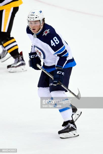Winnipeg Jets Left Wing Brendan Lemieux skates during the second period in the NHL game between the Pittsburgh Penguins and the Winnipeg Jets on...