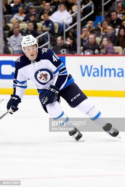 Winnipeg Jets Left Wing Brendan Lemieux skates during the third period in the NHL game between the Pittsburgh Penguins and the Winnipeg Jets on...