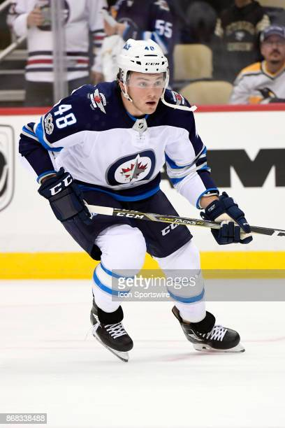 Winnipeg Jets Left Wing Brendan Lemieux warms up before the game between the Pittsburgh Penguins and the Winnipeg Jets on October 26 at PPG Paints...