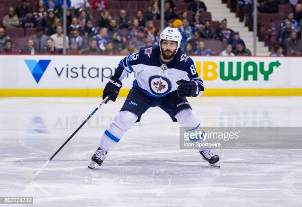 Winnipeg Jets Left Wing Mathieu Perreault skates against the Vancouver Canucks in a NHL hockey game on October 12 at Rogers Arena in Vancouver BC