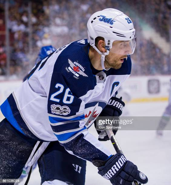 Winnipeg Jets Right Wing Blake Wheeler against the Vancouver Canucks in a NHL hockey game on October 12 at Rogers Arena in Vancouver BC Winnipeg won...