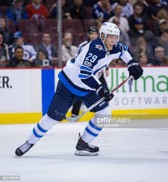 Winnipeg Jets Right Wing Patrik Laine skates against the Vancouver Canucks in a NHL hockey game on October 12 at Rogers Arena in Vancouver BC