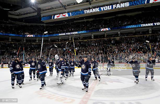 Winnipeg Jets salute the fans following a 51 victory over the Minnesota Wild in the final regular season home game at the MTS Centre on April 3 2016...