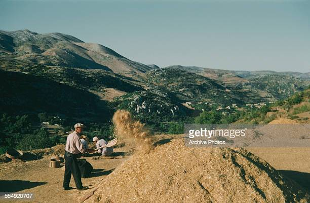 Winnowing wheat in the countryside near Aleppo in northern Syria circa 1965