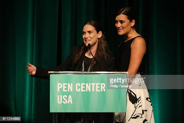 Winona Ryder and Cote De Pablo present the Lifetime Achievment Award during PEN Center USA's 26th Annual Literary Awards Festival honoring Isabel...
