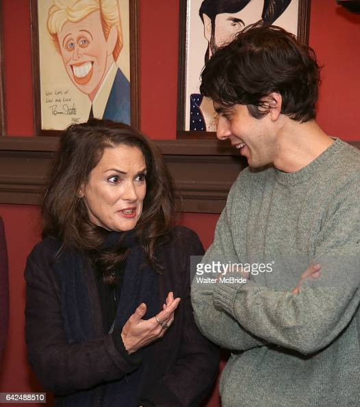 Winona Ryder and friend attend the unveiling of the Kenneth Lonergan caricature at Sardi's on February 17 2017 in New York City