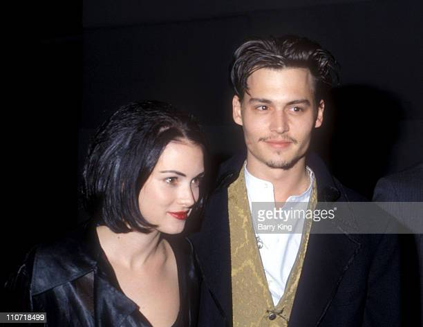 Winona Ryder and Johnny Depp during 'Edward Scissorhands' Premiere in Los Angeles California United States