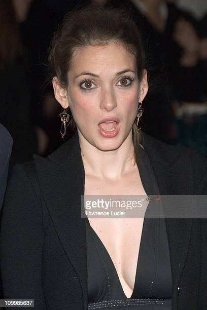 Winona Ryder during Olympus Fashion Week Fall 2006 Marc Jacobs Arrivals at New York Armory in New York City New York United States