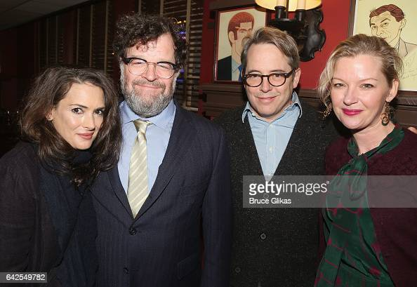 Winona Ryder Kenneth Lonergan Matthew Broderick and Gretchen Mol pose at a celebration for 'Manchester By The Sea' Director/Screenwriter/Playwright...