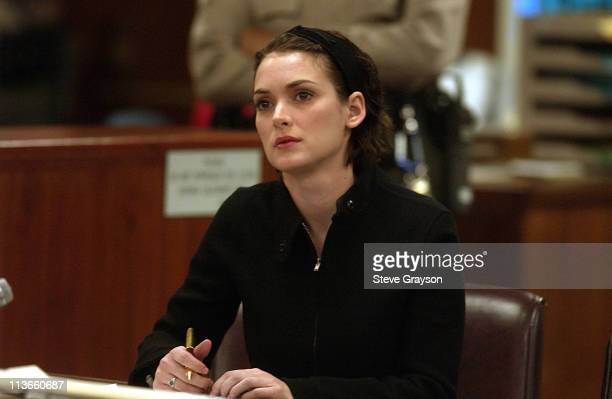Winona Ryder listens to arguments during the sentencing phase of her shoplifting trial