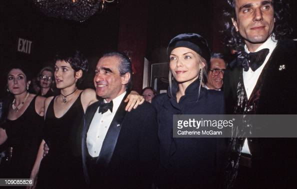 Winona Ryder Martin Scorsese Michelle Pfeiffer and Daniel Day Lewis pose for a photo in September 1993 at the premiere of the film 'The Age of...