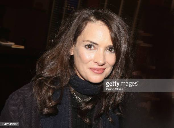 Winona Ryder poses at a celebration for 'Manchester By The Sea' Director/Screenwriter/Playwright Kenneth Lonergan's caricature unveiling at Sardis on...
