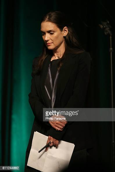 Winona Ryder prepares to speak onstage during PEN Center USA's 26th Annual Literary Awards Festival honoring Isabel Allende at the Beverly Wilshire...