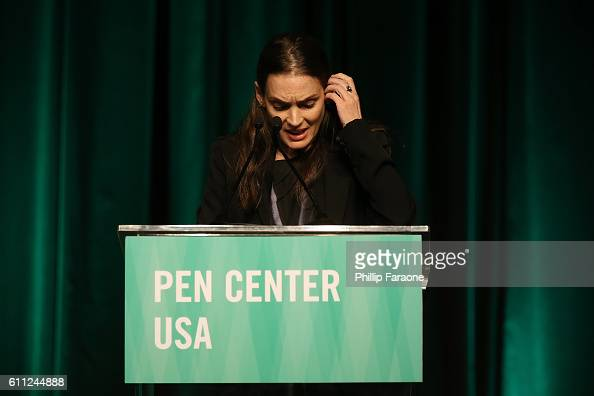 Winona Ryder speaks onstage during PEN Center USA's 26th Annual Literary Awards Festival honoring Isabel Allende at the Beverly Wilshire Four Seasons...
