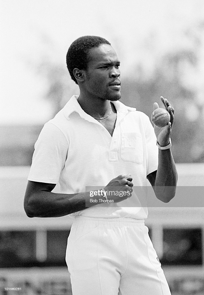 Winston Benjamin preparing to bowl for Leicestershire against Nottinghamshire in a John Player League cricket match held at Grace Road, Leicester on 30th June 1986. Nottinghamshire won by seven wickets. (Bob Thomas/Getty Images).