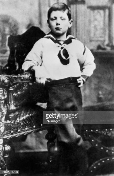 Winston Churchill as a seven year old in a seaman's suit