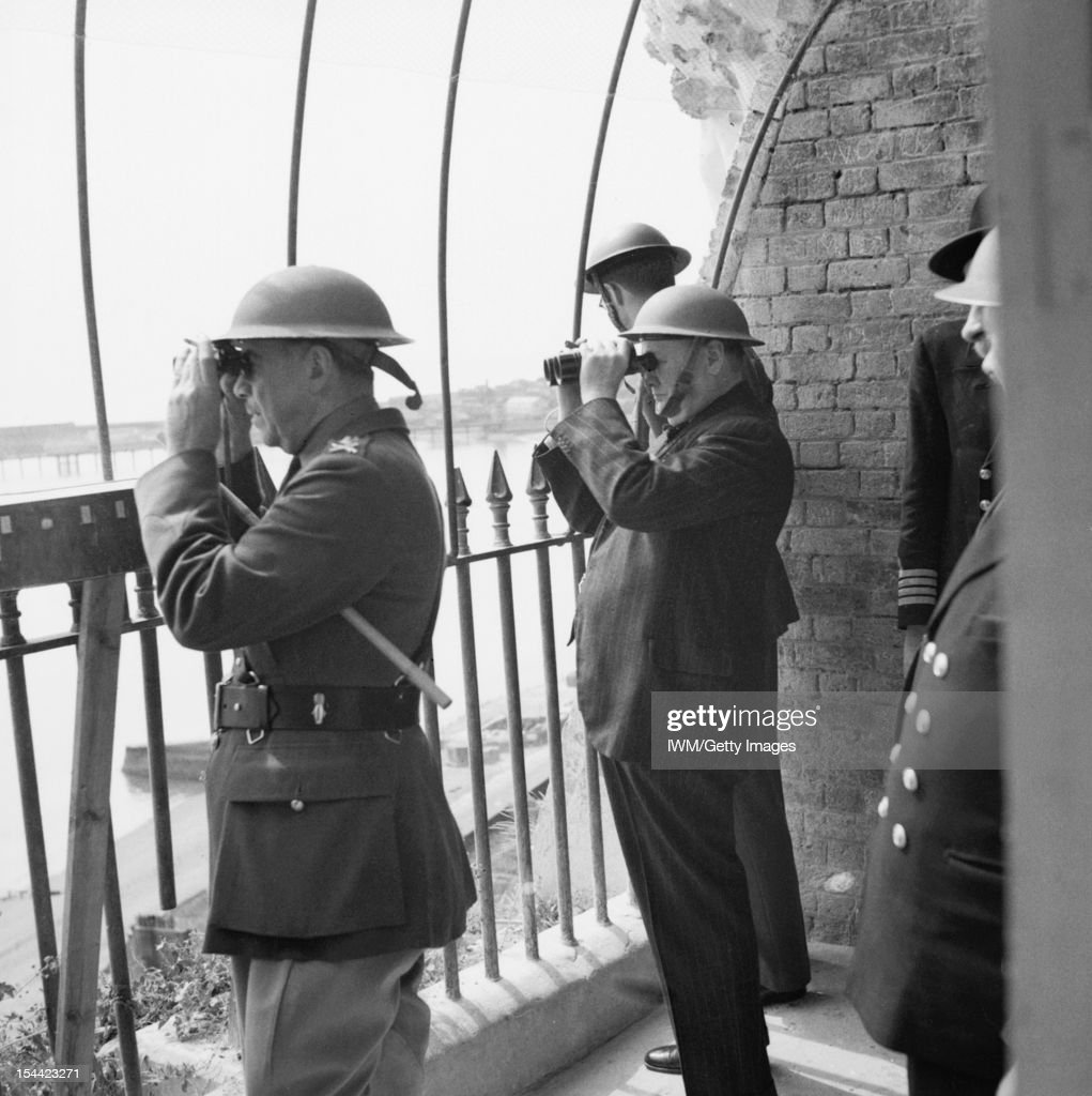 Winston Churchill As Prime Minister 194045 Winston Churchill viewing activity in the Channel from an observation post at Dover Castle during his tour...