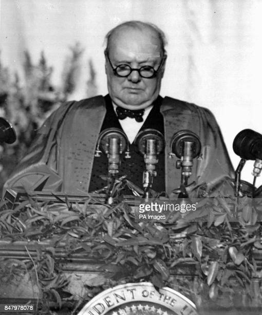 Winston Churchill former Prime Minister of England speaks at Westminster College in Fulton Mo This was the speech in which he used the phrase 'the...