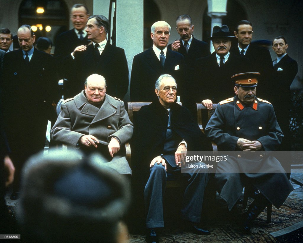 <a gi-track='captionPersonalityLinkClicked' href=/galleries/search?phrase=Winston+Churchill+-+Prime+Minister&family=editorial&specificpeople=92991 ng-click='$event.stopPropagation()'>Winston Churchill</a>, Franklin Delano Roosevelt and <a gi-track='captionPersonalityLinkClicked' href=/galleries/search?phrase=Joseph+Stalin&family=editorial&specificpeople=91259 ng-click='$event.stopPropagation()'>Joseph Stalin</a> at the Yalta Conference, February 1945.