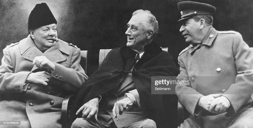 Winston Churchill, Franklin Roosevelt, and Joseph Stalin together after negotiations at the Yalta Conference of 1945. At the conference, the three leaders finalized plans for the organization of Europe after the expected Allied victory in World War II.