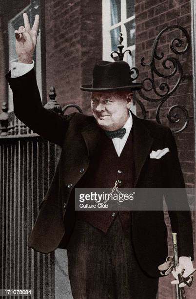 Winston Churchill portrait of the British politician and Prime Minister making the victory gesture outside of 10 Downing Street in June 1943 30...