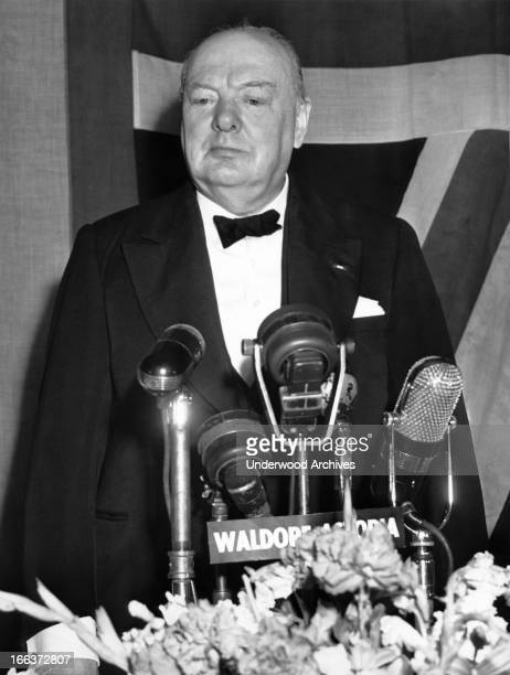 Winston Churchill speaks at a banquest in his honor at the WaldorfAstoria New York New York March 15 1946 He said peace in the world depends upon the...