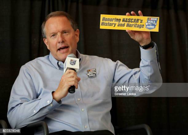 Winston Kelley NASCAR Hall of Fame executive director speaks to the media during the Darlington Throwback Paint Scheme Unveil at NASCAR Hall of Fame...