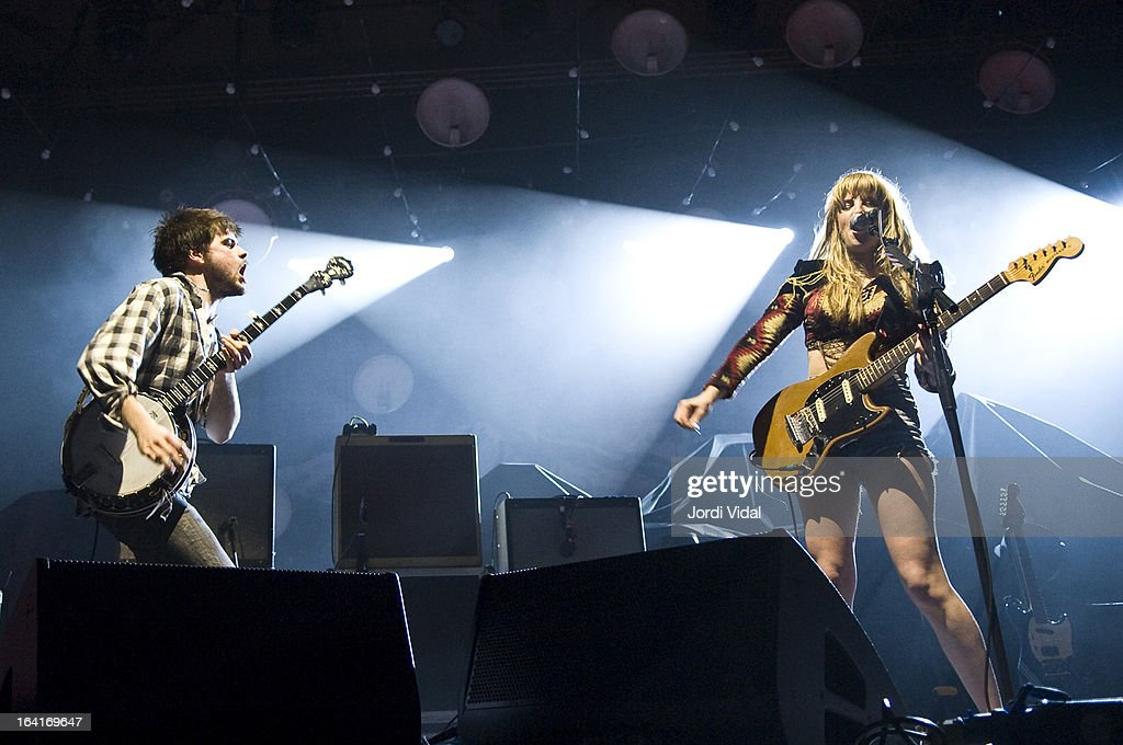 Winston Marshall and Lindsey Troy of Deap Vally perform on stage in concert at Razzmatazz on March 20, 2013 in Barcelona, Spain.
