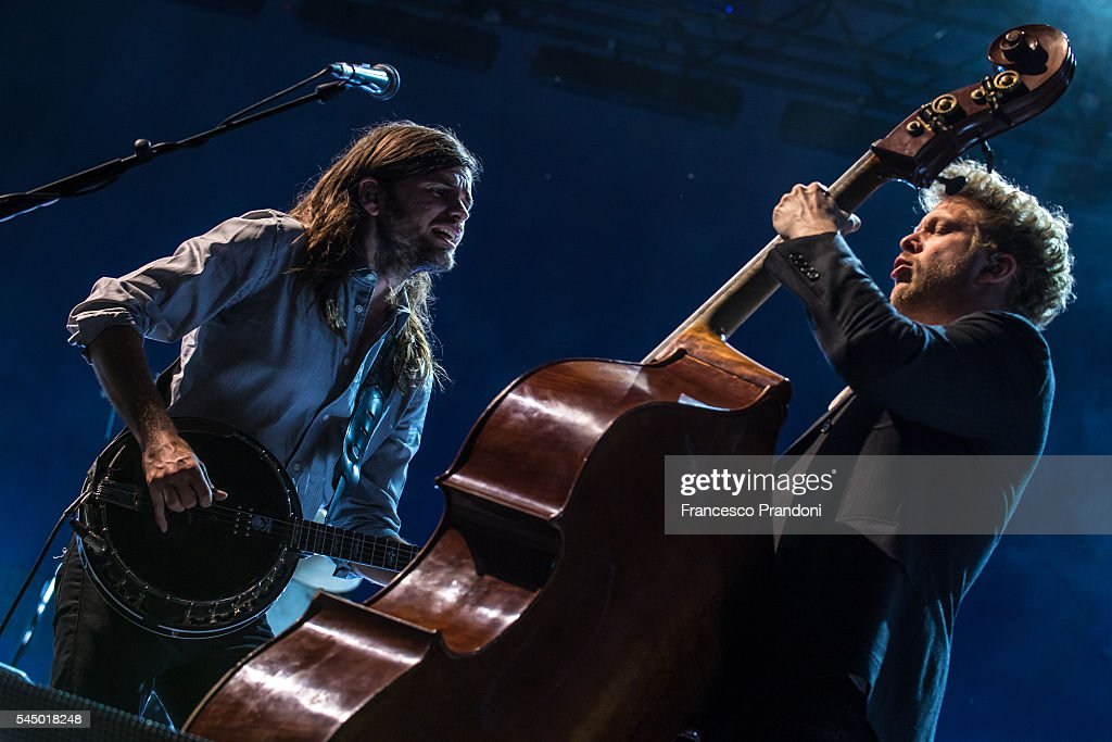 Winston Marshall and Ted Dwane of Mumford And Sons perform at Assago Summer Arena on July 4 2016 in Milan Italy