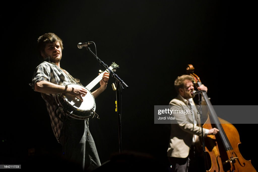 Winston MArshall and Ted Dwane of Mumford and Sons perform on stage in concert at Razzmatazz on March 20, 2013 in Barcelona, Spain.