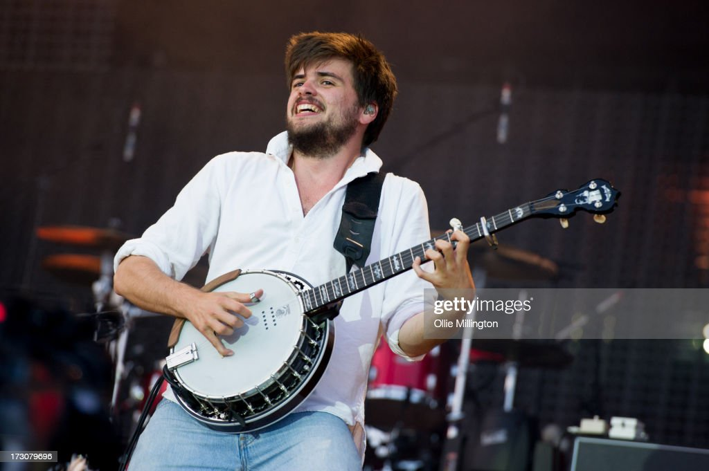 <a gi-track='captionPersonalityLinkClicked' href=/galleries/search?phrase=Winston+Marshall&family=editorial&specificpeople=3124664 ng-click='$event.stopPropagation()'>Winston Marshall</a> of Mumford & Sons performs at their biggest headline show to date during the Summer Stampede tour at Olympic Park on July 6, 2013 in London, England.
