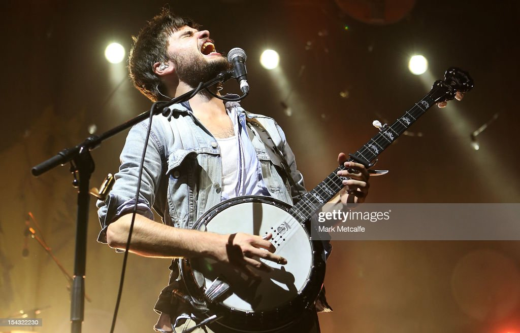 Winston Marshall of Mumford Sons performs for fans at Sydney Entertainment Centre on October 18 2012 in Sydney Australia
