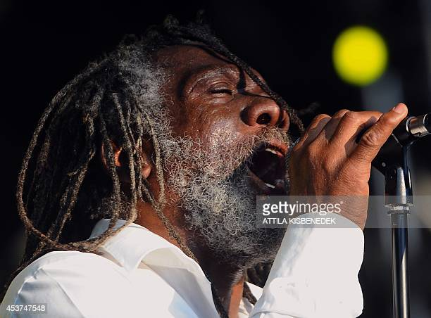 Winston McAnuff of Jamaica performs on the stage of the 'World village' in the Island Festival on 'Hajogyar' Island in Budapest on August 17 2014...