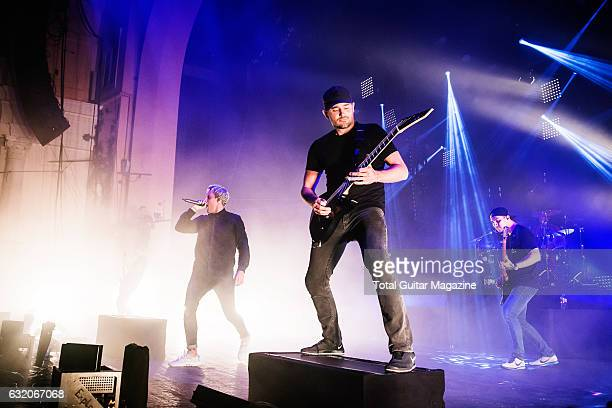 Winston McCall Jeff Ling and Jia O'Connor of Australian metalcore group Parkway Drive performing live on stage at the O2 Academy Brixton in London on...
