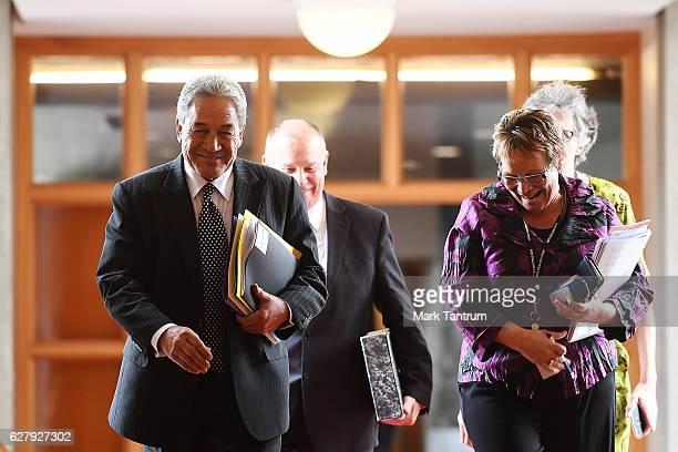Winston Peters approaches Parliament on December 6 2016 in Wellington New Zealand Prime Minister John Key announced his surprise resignation as Prime...