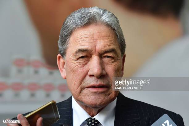 Winston Peters leader of the New Zealand First party speaks to the media outside Bowen House in Wellington on October 19 2017 New Zealand's populist...