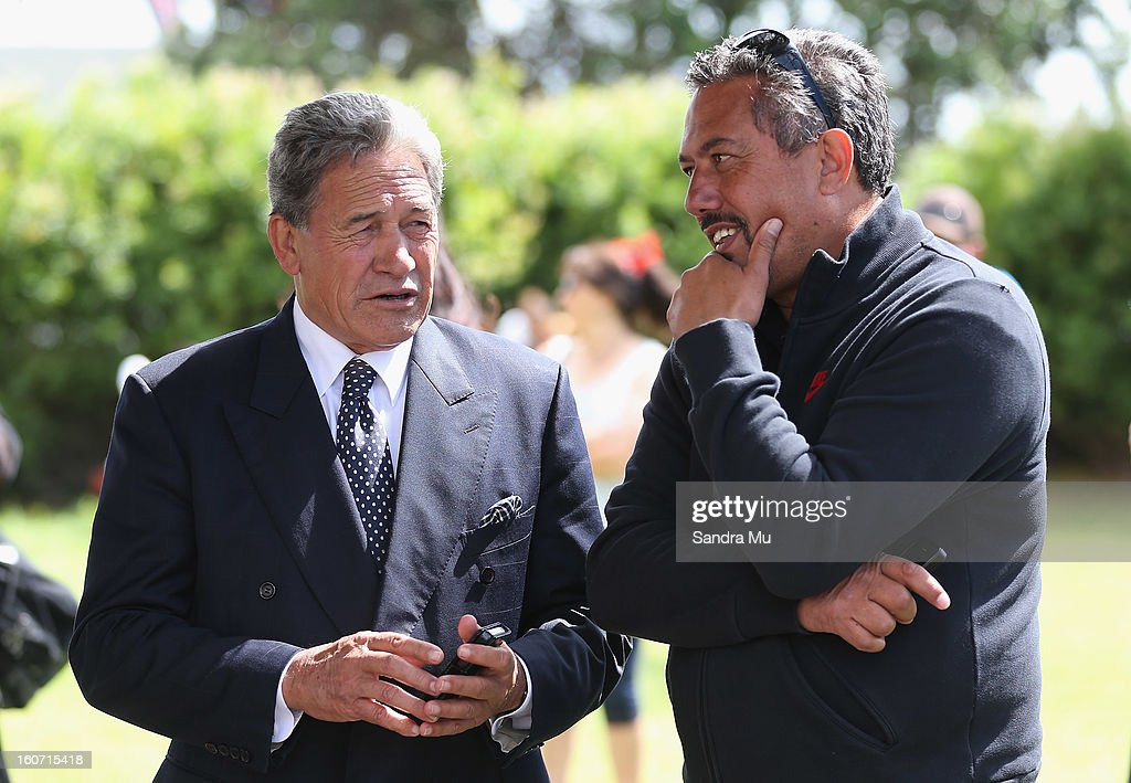 MP Winston Peters (L) talks with comedian Mike King at Te Tii Marae on February 5, 2013 in Waitangi, New Zealand. The Waitangi Day national holiday celebrates the signing of the treaty of Waitangi on February 6, 1840 by Maori chiefs and the British Crown, that granted the Maori people the rights of British Citizens and ownership of their lands and other properties.
